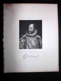 After Phillips 1846 Portrait Print. Prince Augustus-Frederick, Duke of Sussex